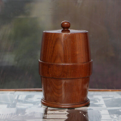 "Antique English Oak Tea Caddy turned from 1 piece approx 7"" tall"