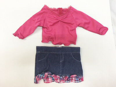 """New 18"""" American Girl Size DOLL CLOTHES Hot Pink Shirt & Jean Skirt Set"""