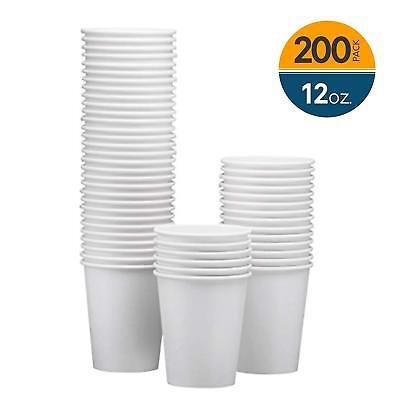 NYHI 200-Pack 12oz White Paper Disposable Cups – Hot/Cold Beverage Drinking Cup
