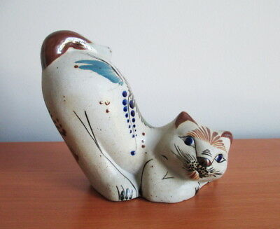 Mexico Pottery Cat Figurine Signed Reyna Hand Painted Flowers Mexican Folk Art