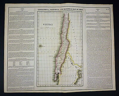 1822 Carey & Lea  MAP of CHILI [Chile] - Antique Hand colored ORIGINAL! Rare!