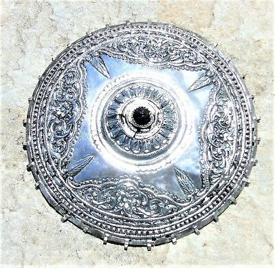 RARE ORIGINAL ANTIQUE OTTOMAN ERA GREEK SILVER BRIDAL HEAD CAP TEPELIK 18th C.