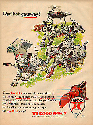 1950s vintage AD TEXACO Fire Chief Gasoline Art Dalmatian Puppies  031116
