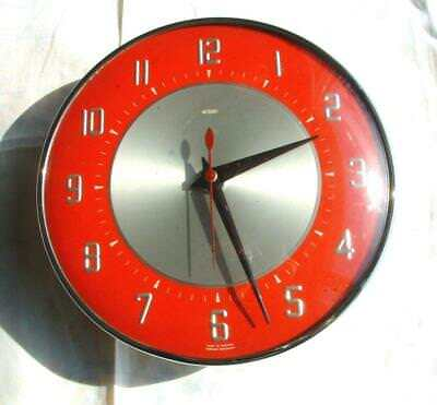 VINTAGE RETRO 1960's METAMEC RED & CHROME WALL CLOCK Rare Diehl Electro