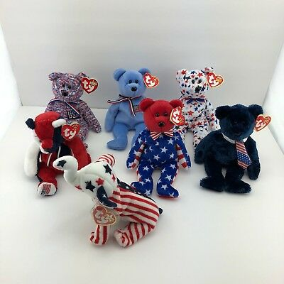 Lot Of 7 TY Beanie Babies America Liberty Stars And Stipes Red White Blue USA