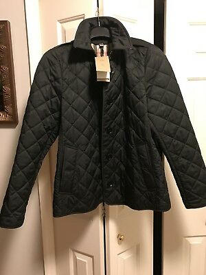 New Burberry Finsbridge Quilted Coat Black Hooded Belted Short