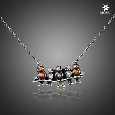 MOZEL New Arrival Ancient Silver Plated Five Birds Fashion Lady Pendant Necklace
