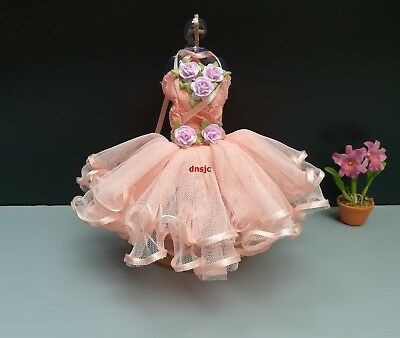 Ballerina Ballet Outfit Tutu Costumes for Barbie, Dolls Clothing Handmade salmon