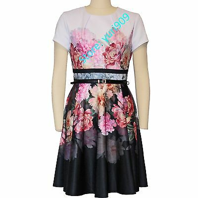 3bc22acf9a650d Ted Baker London Baby Pink Valerey Painted Poise Border Skater Sz 3 (US 8)