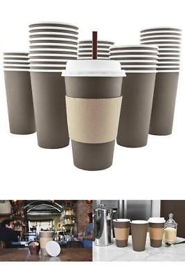 100 Pack 20 Oz Disposable Hot Paper Coffee Cups Lids Sleeves Stirring Straws New
