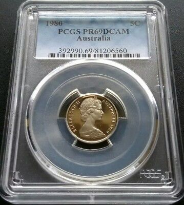 1980 5 Cent Proof Coin. PCGS Graded PR69DCAM  Fantastic Example.