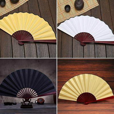 Mens Blank Spun Silk Calligraphy Painting Writing Dancing Folding Hand Fan