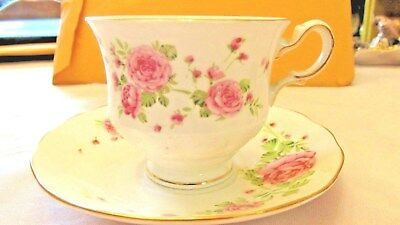 Collectible Avon 1974 Footed Cup And Saucer  Pink Roses Fine Bone China England