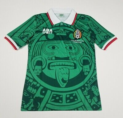 Mexico national team green 1998 retro soccer jersey