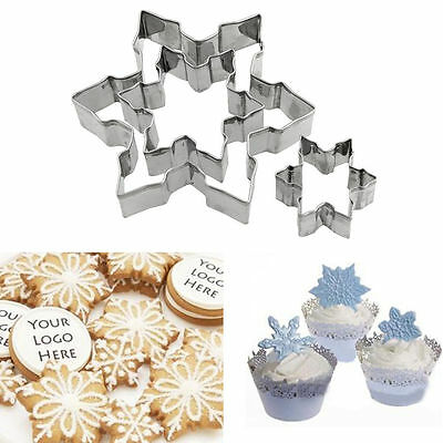 New Set of 3 Frozen Snowflake Biscuit Cookie Mold Snow Flake Cutter Moulds Metal