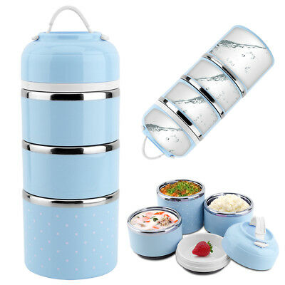 3 Tier Stainless Steel Thermal Insulated Lunch Box Bento Food Container Portable