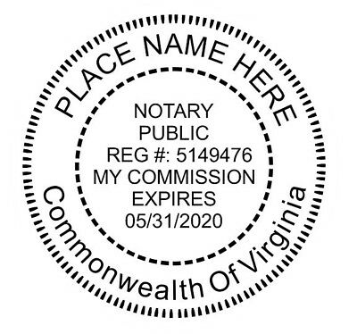 State of Virginia | Custom Round Self-Inking Notary Public Stamp Ideal 400R