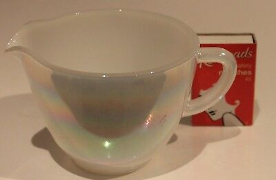 Fire King Vintage Milk Jug Mother of Pearl Lustre Ware Rainbow Creamer 1 Cup USA