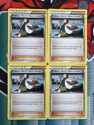 4x Professor Birch's Observations  - 110/122 -Pokemon Card NM/Mint Combined Post
