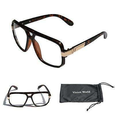 ca5175aa2 Classic Square Frame Plastic Flat Top Aviator Glasses Metal Trimming Clear  Lens