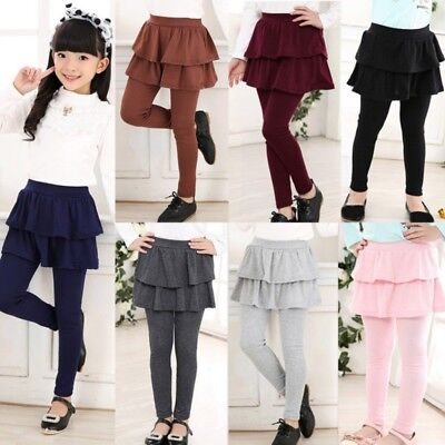 New 3-11Y Girls Warm Cute Cake Culottes Leggings With Ruffle Tutu Skirt Pants US