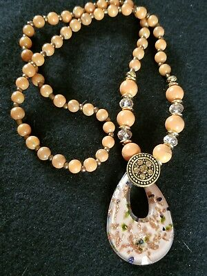 Salmon Jade Beads Necklace & Old Beijing Glaze Pendant Sweater Chain M3002 D4