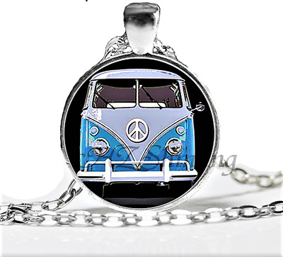 NEW Bohemian style glass dome photo silver plated pendant necklace COMBIE BUS