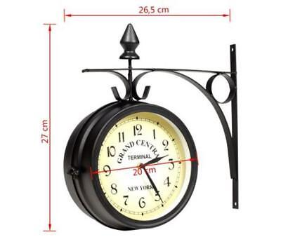 Grand Central Station Wall Mounted Clock Double-Sided Black Retro New York
