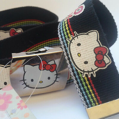 HELLO KITTY Belt with silver buckle canvas print Hello Kitty belt