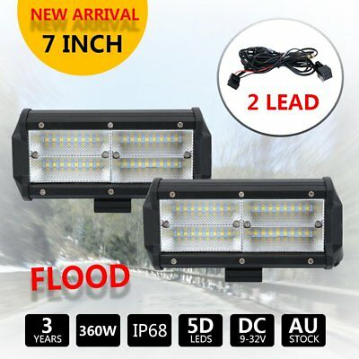 2x 7Inch 360W LED Offroad Light Bar Flood Fog Driving 12V + 2 Lead Wiring Kit 3M