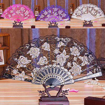 Spanish Style Dance Wedding Party Lace Silk Folding Hand Held Flower Fan NEW