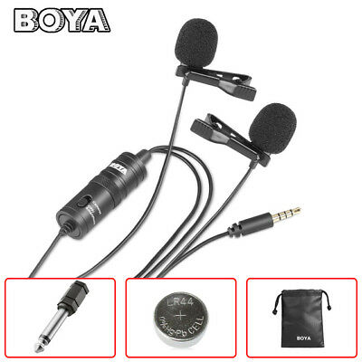 BOYA BY-M1DM Dual Lavalier Clip-On Microphone Mic for Smartphone Camera DSLR