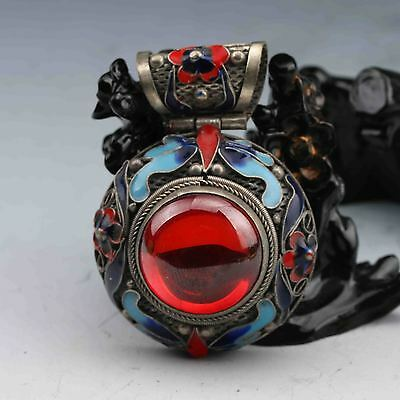 Beautiful Chinese Cloisonne Inlaid Red Zircon Handwork Pendant