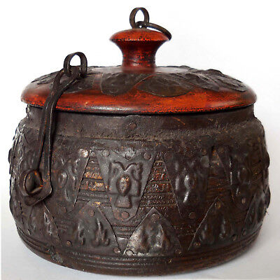Wood and Metal Repousse Spice Box from Nuristan Province, Afghanistan