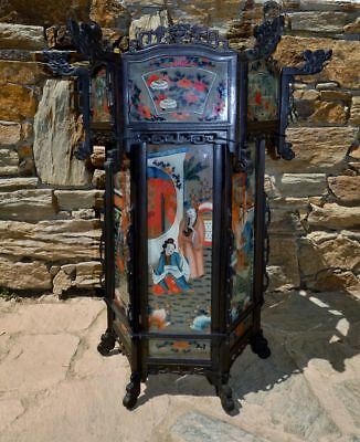 Rare 19th Century Antique Chinese  Carved Wood and Painted Glass Palace Lantern