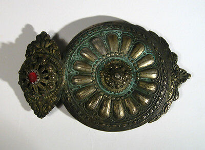 Vintage Amazing Silver Billon Buckle With Red Glass Stone 1800s #897