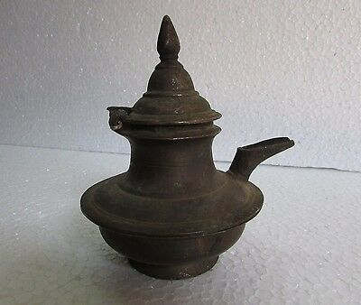 Vintage Old Rare Hand Crafted Unique Shape Solid Brass Casted Holy Water Pot