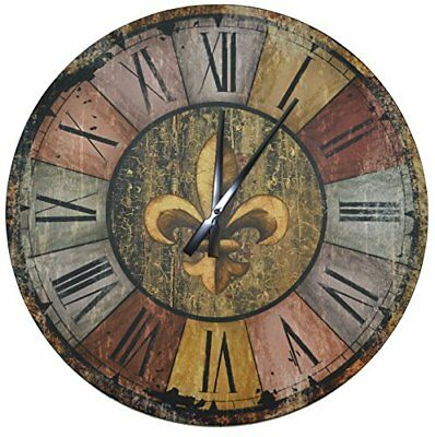 """Lulu Decor Vintage French Country Style Rustic Round Wood Wall Clock 23.50"""" L..."""