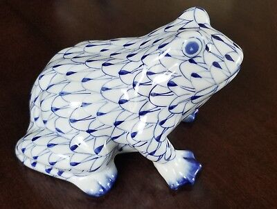"Andrea Frog Figurine Porcelain  with Blue Fishnet  4"" Tall"
