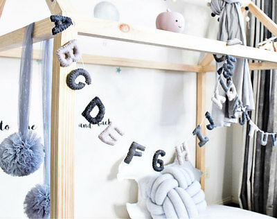 Alphabet garland, Letters garland ABC,Felt, Grey Bunting Kids Nursery Decor Gift
