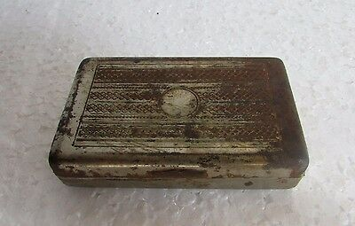 Vintage old Handcrafted Engraved nickel Iron Betel Nut Box Collectible