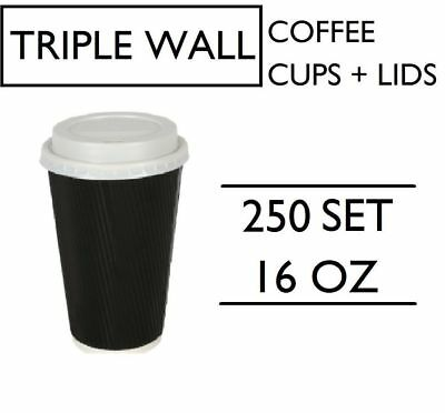 250 SET 16oz TRIPLE WALL COFFEE CUPS WITH LIDS SET BLACK DISPOSABLE PAPER 475ML