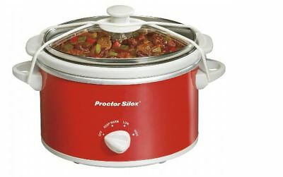 Proctor Silex 33111Y 1.5 Quart Portable Oval Slow Cooker - Red