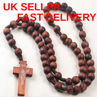 Mens Womens Brown Wood Rosary Bead Beads Necklace Cross High Quality UK