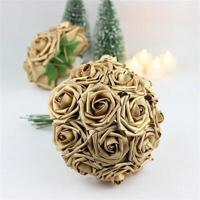 Gold Roses Foam Rose Artificial Flowers Party Wedding Bridal Bouquet Home Decor
