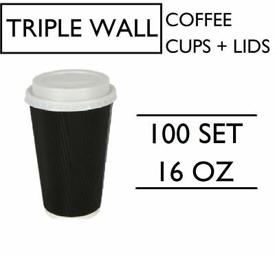 100 SET 16oz TRIPLE WALL COFFEE CUPS WITH LIDS SET BLACK DISPOSABLE PAPER 475ML