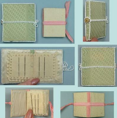 2 Antique Hand Made Silk Needle Books, One With Beading * Circa 1840