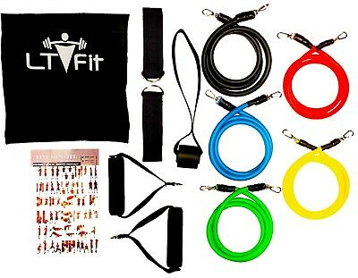 Resistance Bands Tube 11 Piece Exercise Workout CrossFit Fitness Yoga Booty Band