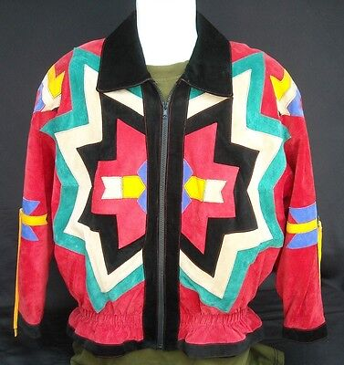 Leather Jacket South Western Native American Style Scully Suede  Women's Size 8