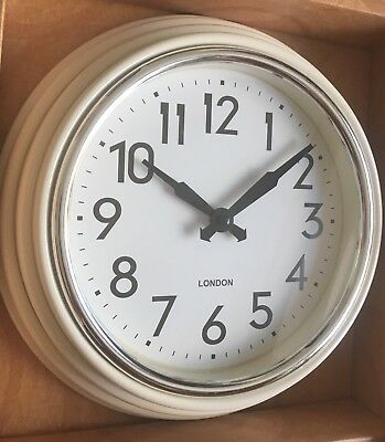 Cream Retro Chunky Round Layered Wall Clock Kitchen Decoration Egg Shell Chrome